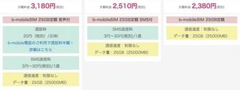 日本通信「25GB定額」の料金プラン