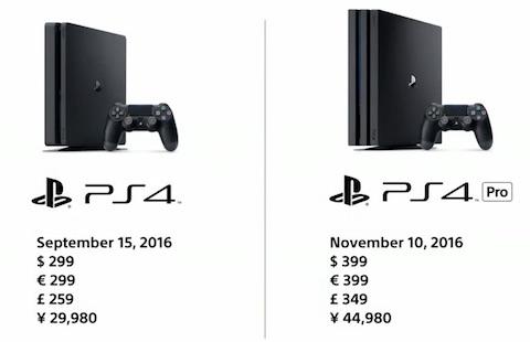 「新型PS4」と「PS4 Pro」の価格