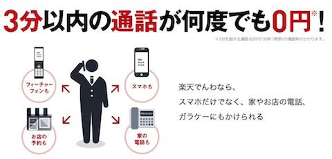 楽天でんわの新料金プラン「3分0円プラン」は3分以内の通話は何度でも無料!