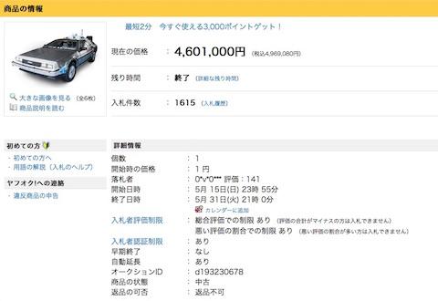 バック・トゥ・ザ・フューチャーのタイムマシン「デロリアン」の実物大レプリカは約460万円で落札